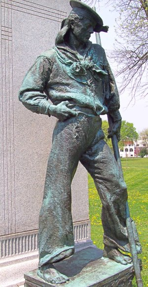 Statue of sailor from Spanish-American War with thumb hooked in his belt.